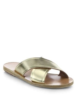Thais Metallic Leather Crossover Slides