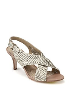 Diane von Furstenberg - Vita Crisscross Braided Metallic Leather Sandals