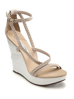Diane von Furstenberg - Olive Braided Leather Wooden Wedge Sandals