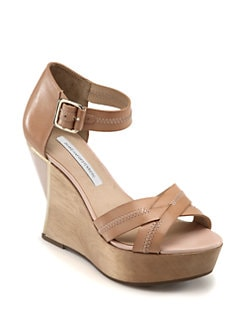 Diane von Furstenberg - Alara Leather Curved Wedge Sandals