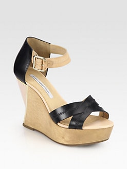 Diane von Furstenberg - Alara Leather Wooden Wedge Sandals