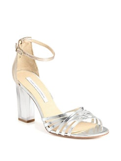 Diane von Furstenberg - Priene Mirror Leather Lucite Heel Sandals