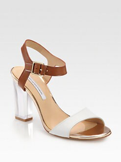 Diane von Furstenberg - Patmos Leather Lucite Heel Sandals
