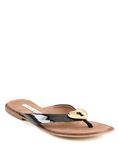 Diane von Furstenberg - Kyra Patent Leather Heart Thong Sandals