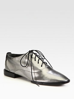 Alexander Wang - Ingrid Pebbled Metallic Leather Lace-Up Oxfords