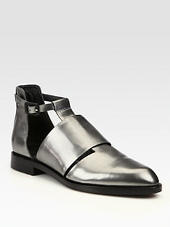 Alexander Wang - Lyoka Textured Metallic Leather Cutout Oxfords