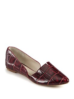 Elizabeth and James - Merri Crocodile-Print Leather Smoking Slippers