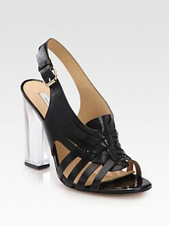 Diane von Furstenberg - Taite Leather Lucite Heel Sandals