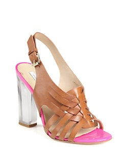 Diane von Furstenberg - Taite Woven Leather Lucite Heel Sandals