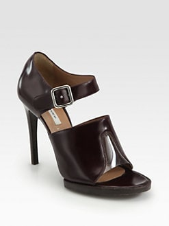 Carven - Leather Ankle Strap Platform Sandals