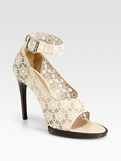 Carven - Lace & Patent Leather Ankle Strap Pumps