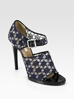 Carven - Mesh & Lace Mary Jane Sandals