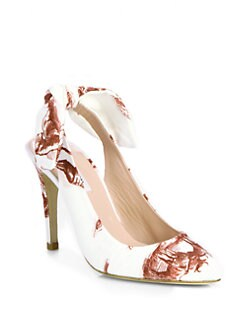 Carven - Safari-Print Canvas Slingback Pumps