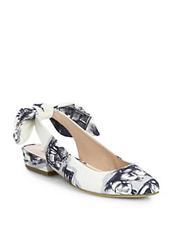 Carven - Safari-Print Canvas Slingback Flats
