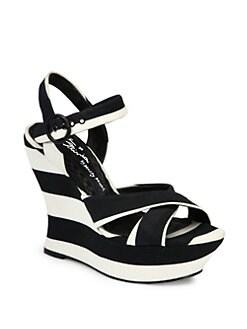 Alice + Olivia - Juliet Striped Canvas Wedge Sandals