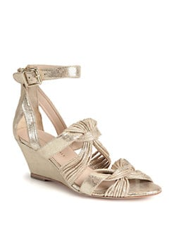 Loeffler Randall - Alana Mignon Twist Metallic Leather Wedge Sandals