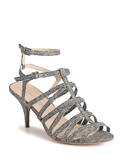 Loeffler Randall - Roxy Strappy Lizard-Embossed Leather Sandals