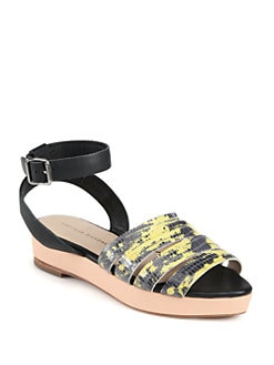 Loeffler Randall - Farrah Lizard-Print Leather Platform Sandals