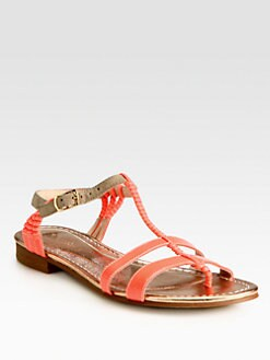 Opening Ceremony - Cabana Patent Leather & Suede T-Strap Sandals