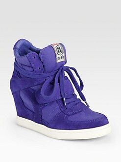 Ash - Cool Canvas & Suede Wedge Sneakers