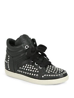 Ash - Zest Studded Leather Lace-Up Sneakers