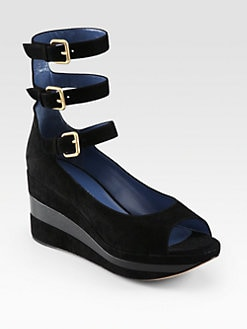 Marc by Marc Jacobs - Suede Triple Ankle Strap Wedge Pumps
