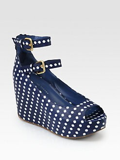 Marc by Marc Jacobs - Polka Dot Leather Wedge Pumps