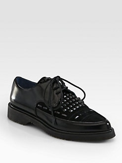 Marc by Marc Jacobs - Creeper Studded Leather & Suede Lace-Up Oxfords