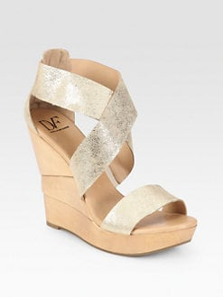 Diane von Furstenberg - Opal Metallic Leather Sculpted Wedge Sandals