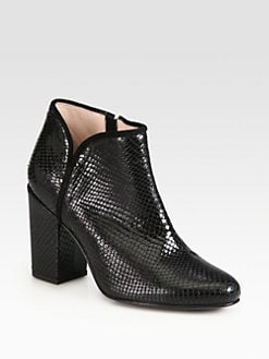 Opening Ceremony - Penny Snake-Embossed Leather Ankle Boots