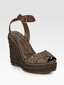Jean-Michel Cazabat - Ashantie Snake-Print Canvas Espadrille Wedge Sandals