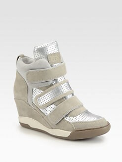 Ash - Alex Suede & Metallic Leather Wedge Sneakers