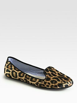 Charles Philip Shanghai - Sheila Leopard-Print Silk Smoking Slippers