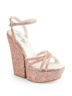 Alice + Olivia - Ursula Capri Glitter Platform Sandals