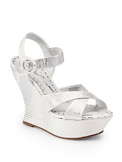 Alice + Olivia - Juliet Lizard-Embossed Metallic Leather Wedges