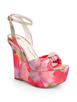 Alice + Olivia - Ilise Watercolor-Print Fabric Wedge Sandals
