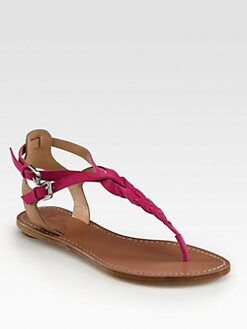 Belle by Sigerson Morrison - Rank Braided Suede T-Strap Sandals