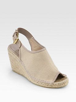 Jean-Michel Cazabat - Mariela Canvas Leather-Trimmed Espadrille Wedges
