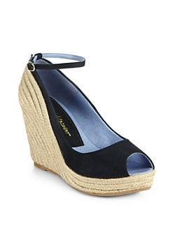 Jean-Michel Cazabat - Dulaka Suede Ankle Strap Espadrille Wedges