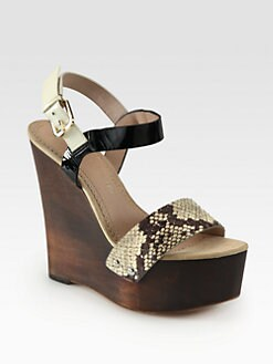 Jean-Michel Cazabat - Tarika Snake-Embossed Leather Wooden Wedge Sandals