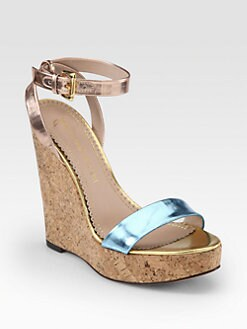 Jean-Michel Cazabat - Wiister Mirror Leather Cork Wedge Sandals