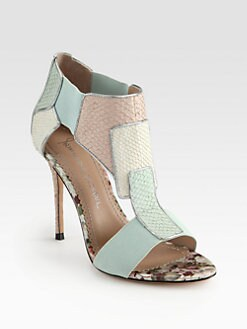 Jean-Michel Cazabat - Octavia Salmon Skin & Metallic Leather-Trimmed Sandals