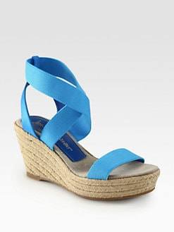Jean-Michel Cazabat - Claudia Crisscross Canvas Espadrille Wedges