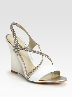 Elie Tahari - Chelsea Snake-Embossed Leather Wedge Sandals