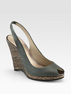Elie Tahari - Whitney Leather & Metallic Raffia Wedge Sandals