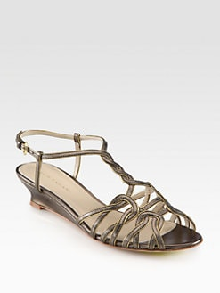 Elie Tahari - India Metallic Leather Demi-Wedge Sandals