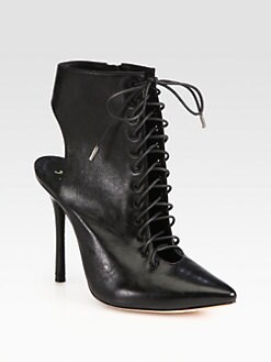 Alice + Olivia - Dominica Leather Lace-Up Ankle Boots