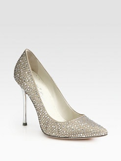 Alice + Olivia - Dana Crystal-Coated Satin Pumps