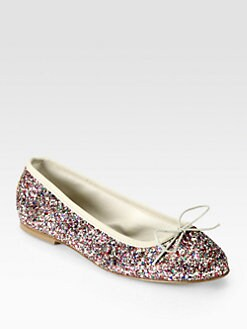 Anniel - Multicolored Glitter Bow Ballet Flats