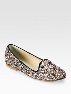 Anniel - Glitter Leather-Trimmed Smoking Slippers